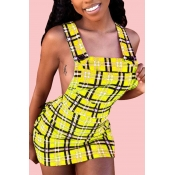 Lovely Sexy U Neck Backless Plaid Yellow Mini A Line Dress(With Elastic)