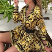 Lovely Trendy Printed Gold Mini Dress(Without Belt