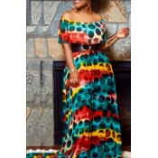 Lovely Sweet Printed Blue Floor Length Dress(Witho