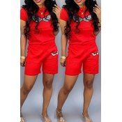Lovely Leisure Printed Red Two-piece Shorts Set