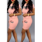 Lovely Leisure Printed Light Pink Two-piece Shorts Set