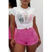 Lovely Casual High Waist Pink Denim Shorts