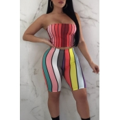 Lovely Women's Sleeveless Striped Two-piece Shorts