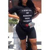 Lovely Leisure Letter Printed Black Two-piece Shorts Set