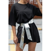 Lovely Casual O Neck Black Mini Dress(With Belt)
