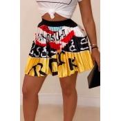 Lovely Casual Printed Drape Design Yellow Skirt