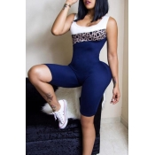 Lovely Casual Printed Patchwork Blue One-piece Rom