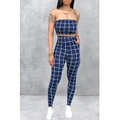 Lovely Women's Off The Shoulder Plaid Blue Two-pie