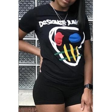 Schönes Lässiges Bedrucktes Schwarzes T-Shirt