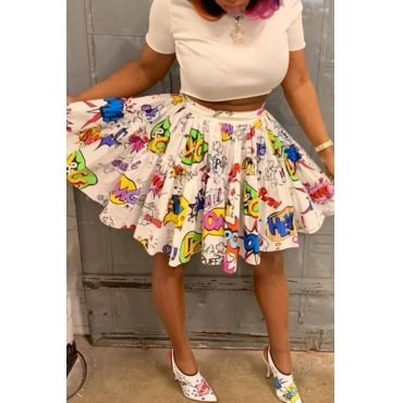 Lovely Casual Printed White Skirts