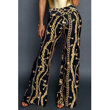 Lovely Stylish Printed High Waist Black Pants(With Elastic)