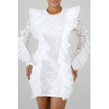 Precioso Vestido Blanco Para Mujer Con Patchwork De Encaje (con Elástico)