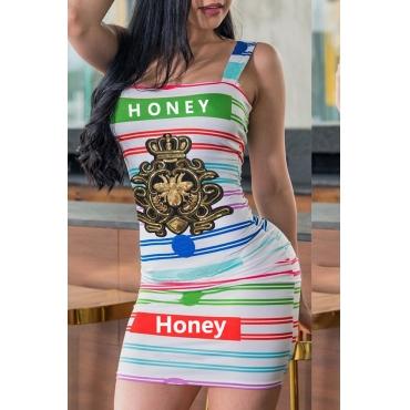 Precioso Mini Vestido Casual Con Estampado De Rayas Con Cuello En U (con Elástico)