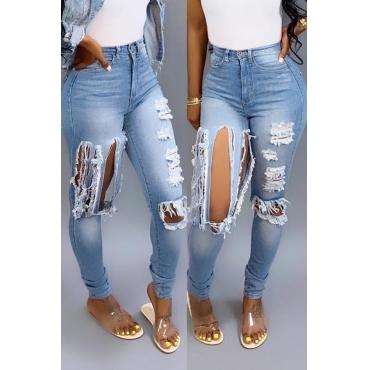 Lovely Casual High Waist Broken Holes Light Blue Jeans