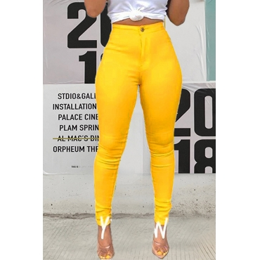 Lovely Casual High Waist Yellow Pants(With Elastic)