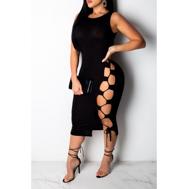 Lovely Casual Lace-up Hollow-out Black Mid Calf Dress(With Elastic)