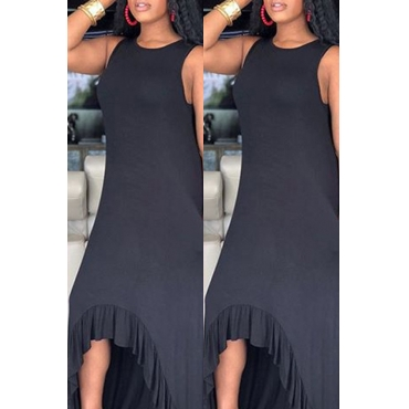 Lovely Casual Asymmetrical Black Ankle Length Dress(With Elastic)
