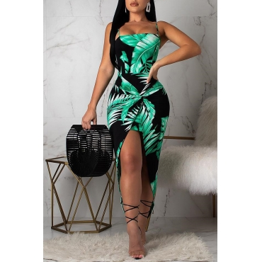 Lovely Stylish Printed Asymmetrical Green Ankle Length Dress(With Elastic)