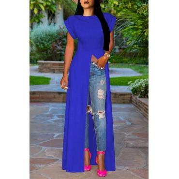 Lovely Stylish High Split Blue Blouse