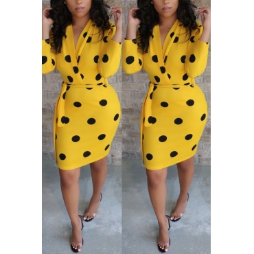 Lovely Stylish Dots Printed Yellow Mini Dress(With Belt)