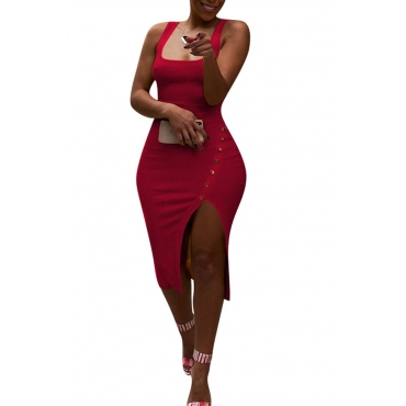 Lovely Work U Neck Side Split Red Knee Length Dress(With Elastic)
