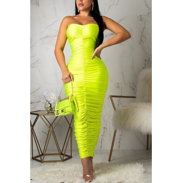 Lovely Sexy Sleeveless Ruffle Green Ankle Length Dress