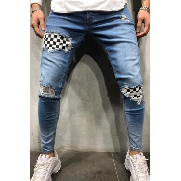 Lovely Stylish Broken Holes Patchwork Baby Blue Jeans
