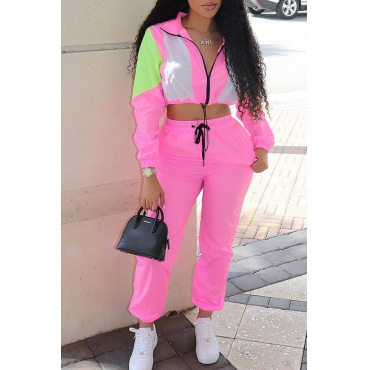 Lovely Casual Turndown Collar Patchwork Pink Two-piece Pants Set