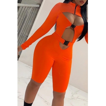 Lovely Sexy Hollow-out Orange-red One-piece Romper