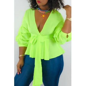 Lovely Work Lace-up Green Blouses