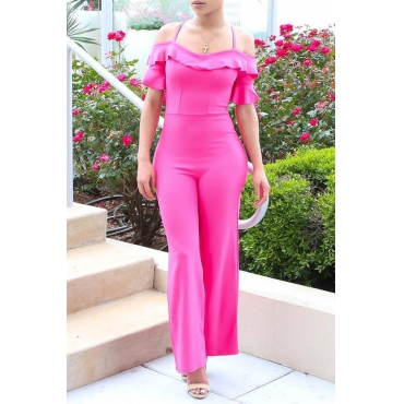 Lovely Trendy Flounce Design Rose Red One-piece Jumpsuit