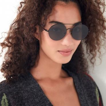 Lovely Trendy Round Black Metal Sunglasses