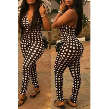 Lovely Casual V Neck Plaid White One-piece Jumpsuit