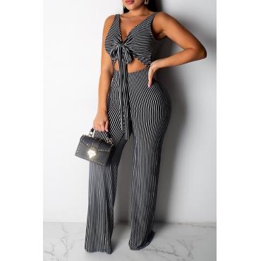 Lovely Trendy V-shaped Backless Striped Black One-piece Jumpsuit