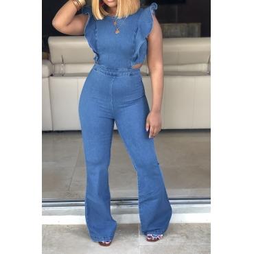 Lovely Trendy Ruffle Design Blue Denim One-piece Jumpsuit