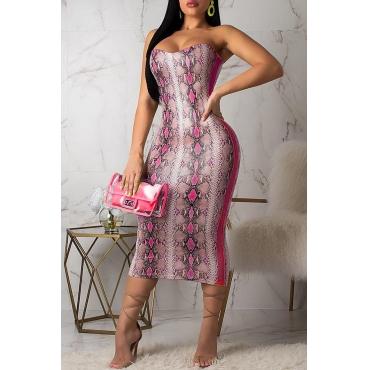 Lovely Chic Off The Shoulder Snakeskin Pattern Rose Red Dress