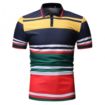 Lovely Casual Striped Navy Polo Shirts