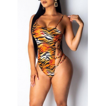 Lovely Sexy Printed Hollow-out One-piece Swimwear