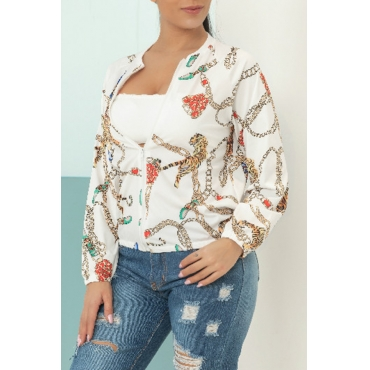 Lovely Casual Long Sleeve Printed White Jacket