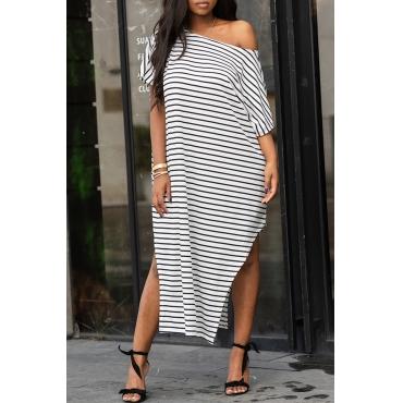 Lovely Leisure One Shoulder Striped White Floor Length Dress