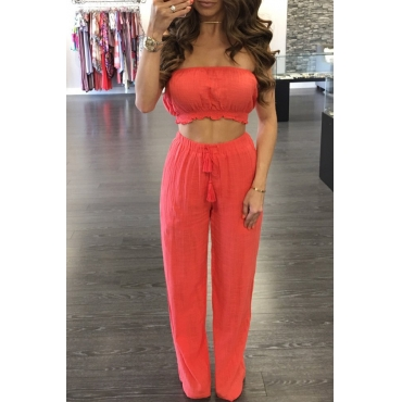 Lovely Casual Off The Shoulder Red Two-piece Pants Set