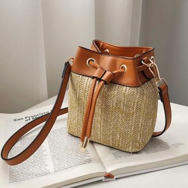 Lovely Casual Weaving Design Brown Crossbody Bag