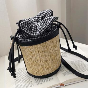 Lovely Casual Weaving Design Plaid Black Crossbody Bag