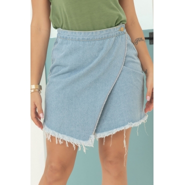 Lovely Casual Asymmetrical Baby Blue Mini Skirt
