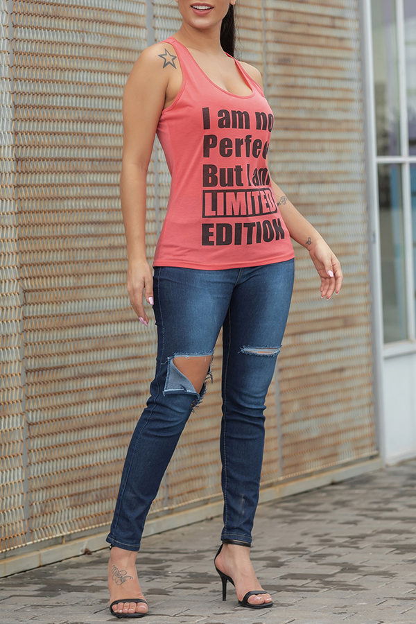 Lovely Leisure Letter Printed Red Tank Top