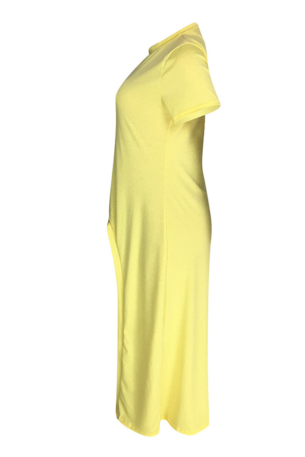 Lovely Casual Asymmetrical Yellow T-shirt