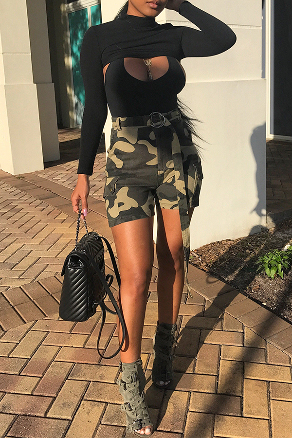 Lovely Casual Camouflage Printed Shorts(With Belt)