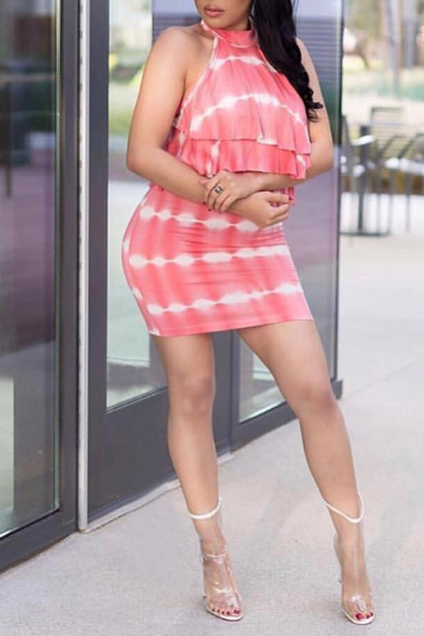 Lovely Sexy Off The Shoulder Ruffle Design Pink Mini Dress
