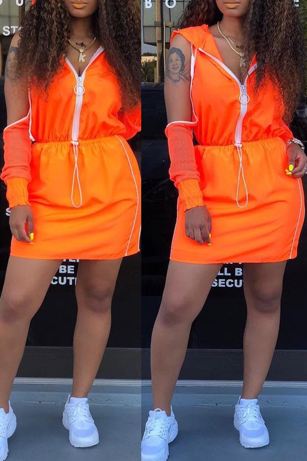 Lovely Leisure Hooded Collar Off The Shoulder Zipper Design  Jacinth Two-piece Skirt Set