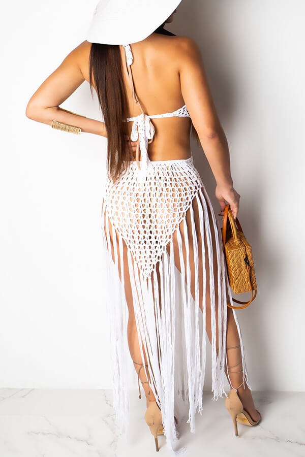 Lovely Sexy Hollow-out Tassel Design White Swimdresses